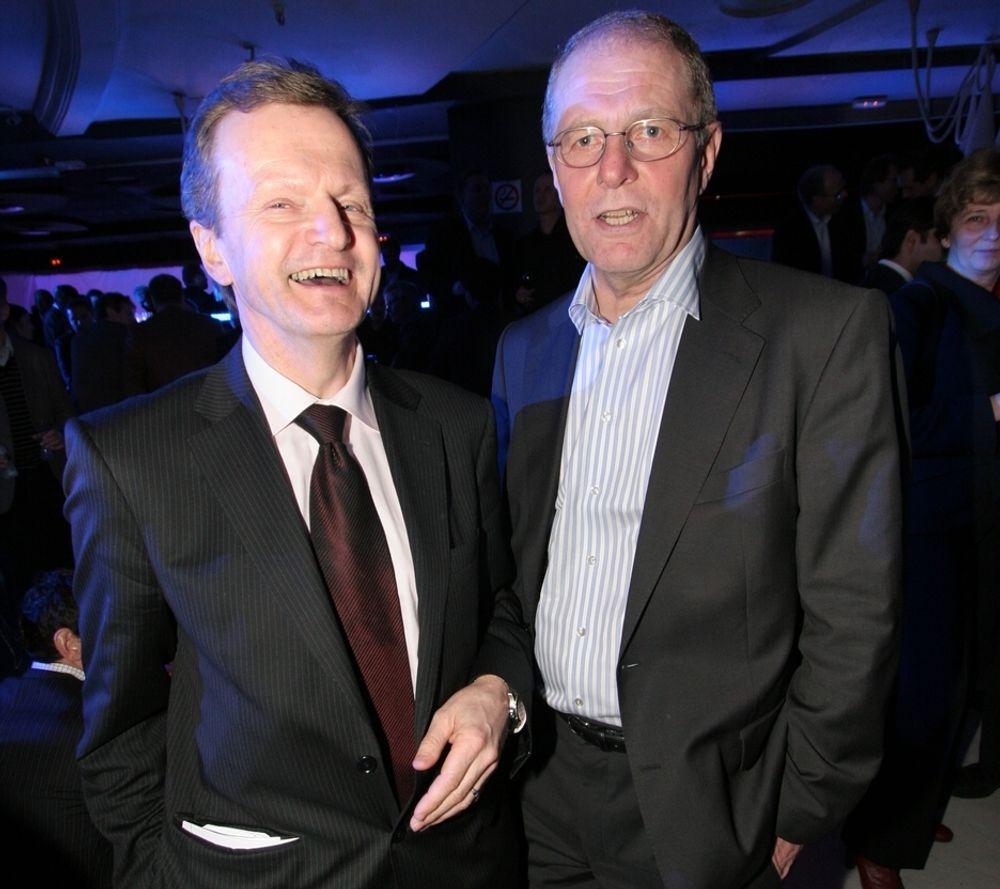 Konsernsjef Jon Fredrik Baksaas (t.v.) og direktør Jan Edvard Thygesen i Telenor er fornøyde med at en russisk domstol har forkastet et erstatningkrav fra Farimex.