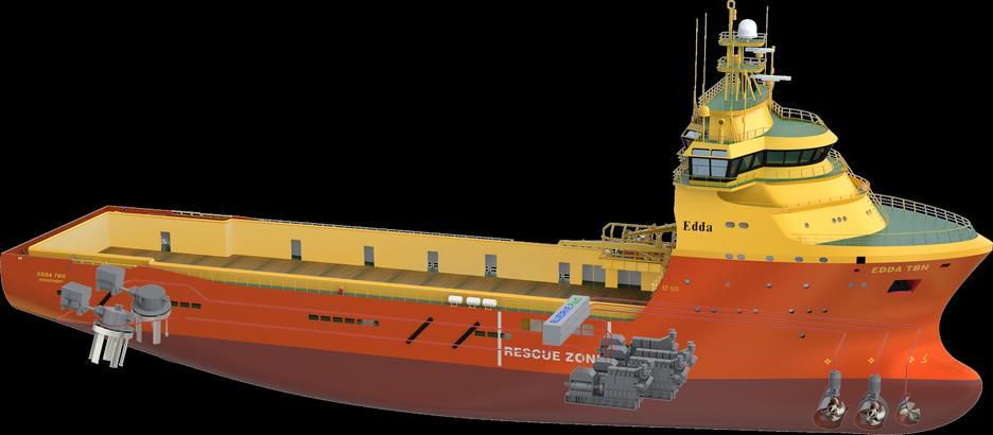 NYTT SYSTEM: Siemens og Østensjø Rederi har sammen utviklet systemet som er tilpasset driftsprofilen og med katalysator som fungerer selv ved lav belastning. Skipet skal ha Voith Schneider-propeller.
