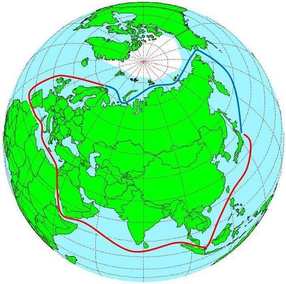 HALVPARTEN: Nordøstpassasjen kan i mange sammenhenger være nesten halvparten så langt som å seile gjenno m Suez fra nordlige del av Europa til Østen. Fra Bergen til Yokohoma i japan, er det nøyaktig halvparten, 6.000 mot 12.000 nautiske mil.