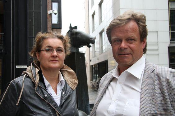 Per Brevik i Norcem Brevik/Heidelberg Cement og Liv Monica Stubholt i Aker Clean Carbon. 6. juni 2011