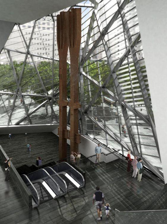 De to ståltridentene var synlige søyler i Tvillingtårnenes fasader, og ble reddet etter at tårnene kollapset. Fra atriet i paviljongen kan man gå eller ta rulletrapp ned til det underjordiske 11. september-museet. Nederst i trappen vil publikum komme til en hall som er like stor som New Yorks togstasjon Grand Central Terminal.