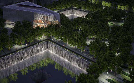 Snøhettas paviljong står i minneparken, ved avtrykkene til Tvillingtårnene. Paviljongen kan ta imot 1500 mennesker i timen, og inneholder bl.a. filmsal, kafé og et utkikkspunkt. Vannspeilene med fossefall i Tvillingtårnenes avtrykk vil både gi en følelse av avgrunn, og reflektere mange av de 400 eiketrærne (querecus bicolor) i minneparken. Trærne ble valgt og dyrket frem med tanke på å stå akkurat her.
