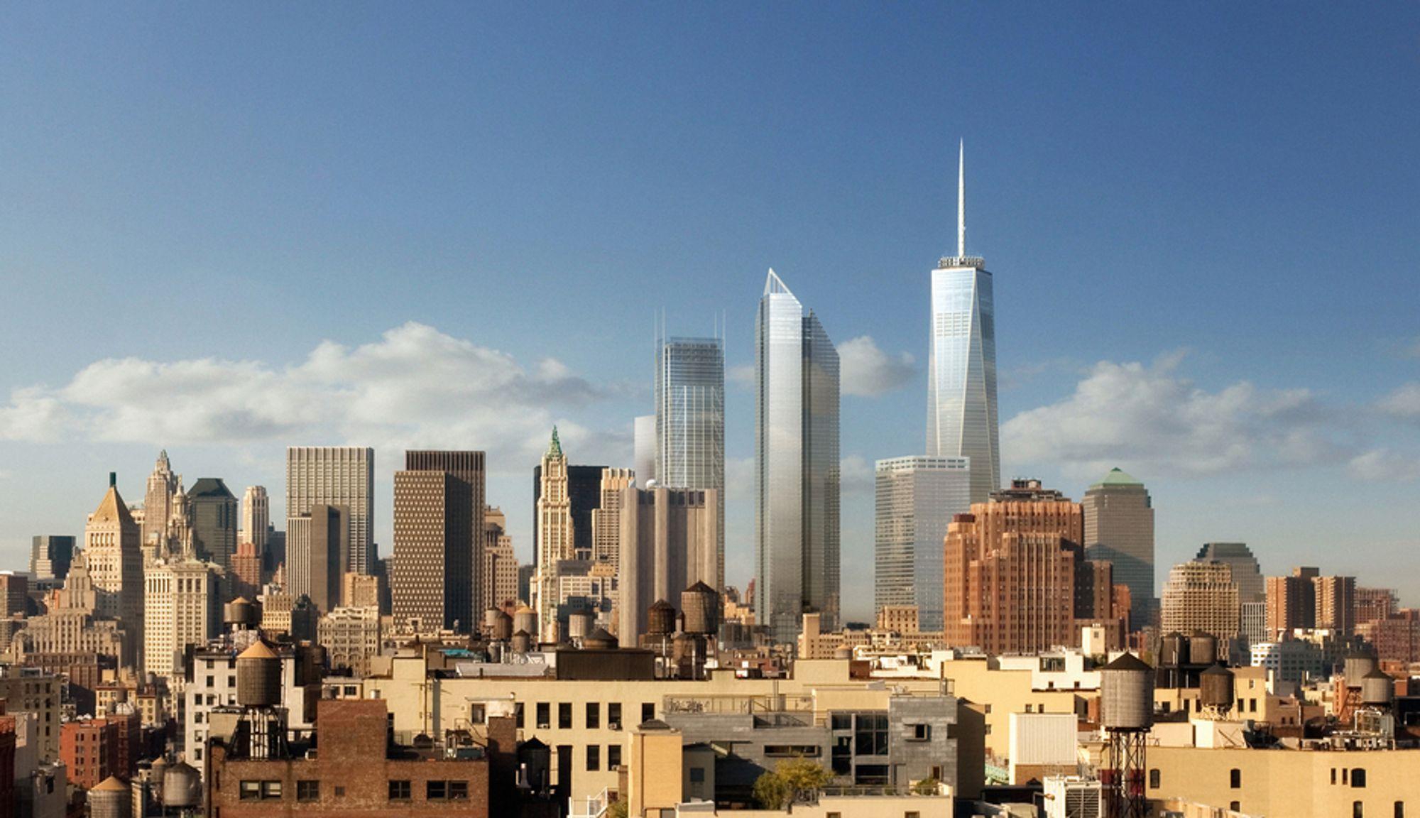 FREMTIDSVISJON: Omtrent slik vil nedre Manhattans skyline se ut fra Brooklyn i 2014. Hvis man regner med spiret, blir One World Trade Center USAs høyeste skyskraper. På midten tar bygningen form av et oktogon.