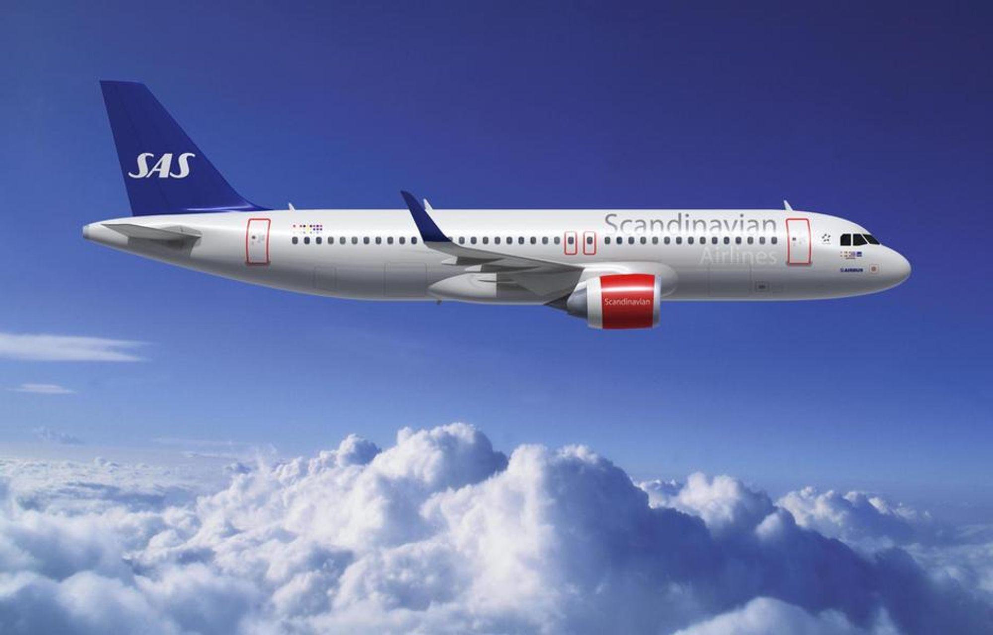Slik vil et Airbus A320 med nye CFM-motorer og oppovervendte vingetupper se ut i SAS-farger.