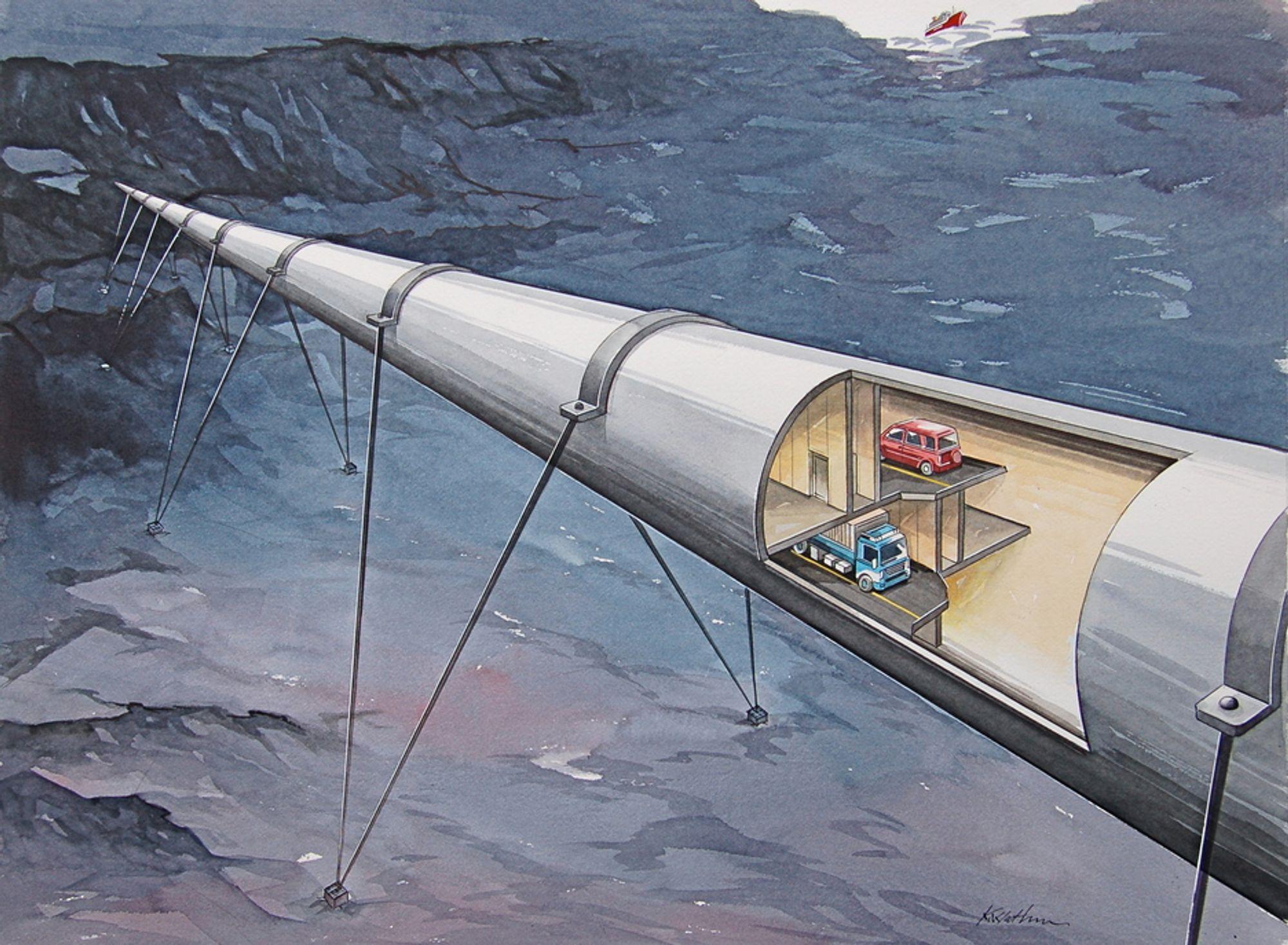 RØRBRO: Veien kan legges i et rør som flyter i vannet. Dypt nok til at skip trygt kan passere over. Rørene kan være laget av betong, eller av stål.