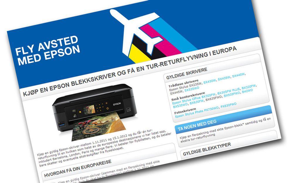 Kjøp en skriver fra Epson til minst 595 kroner, så får du en tur/retur-reise til en av noen utvalgte europeiske byer.