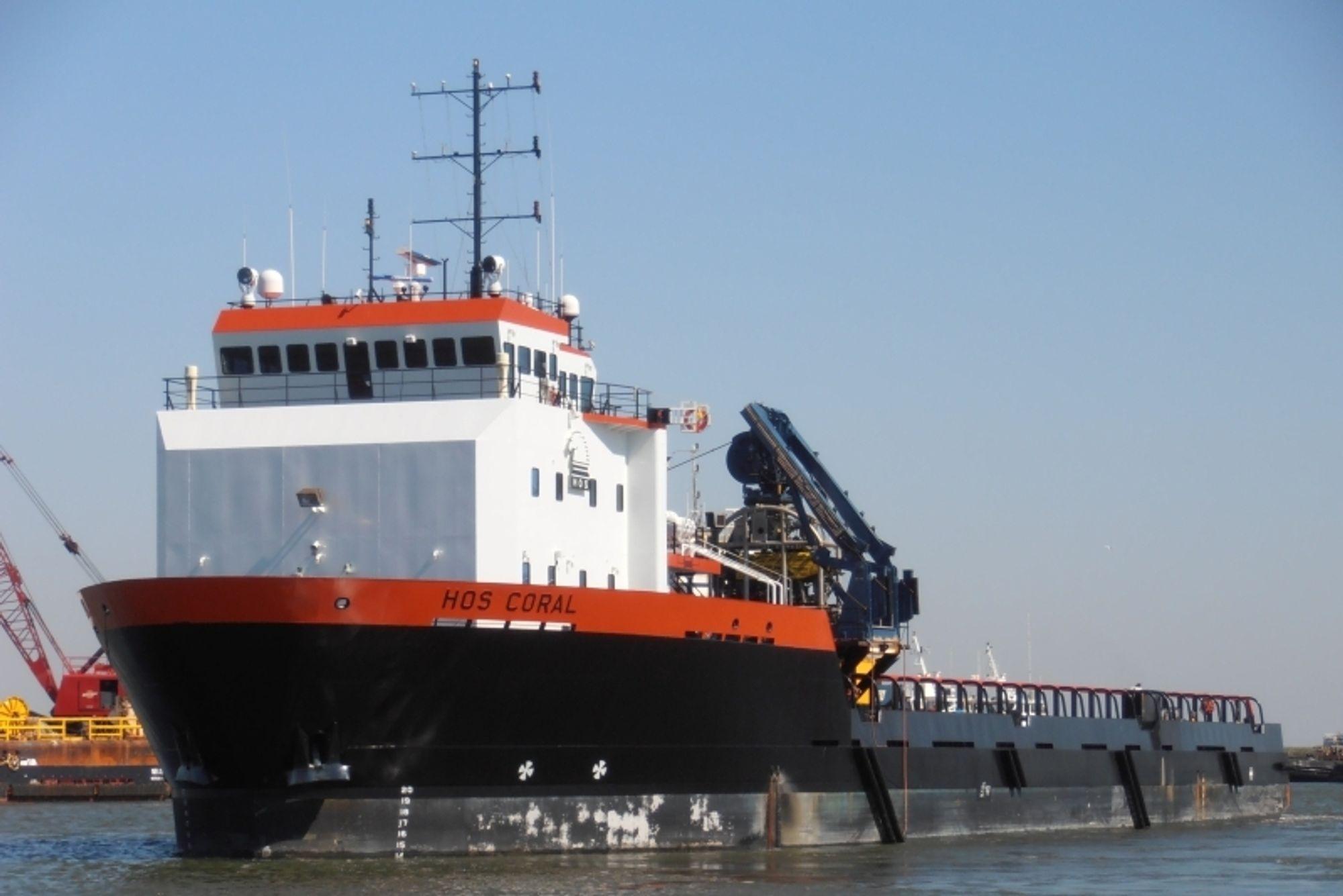 STØRRE: Super 320-designet til VT Halter Marine bygger på dette skipet, HOS Coral, utviklet for hornbeck Offshore Services. Super 320 blir en del større og har blant annet  1100 m2 dekksareal.