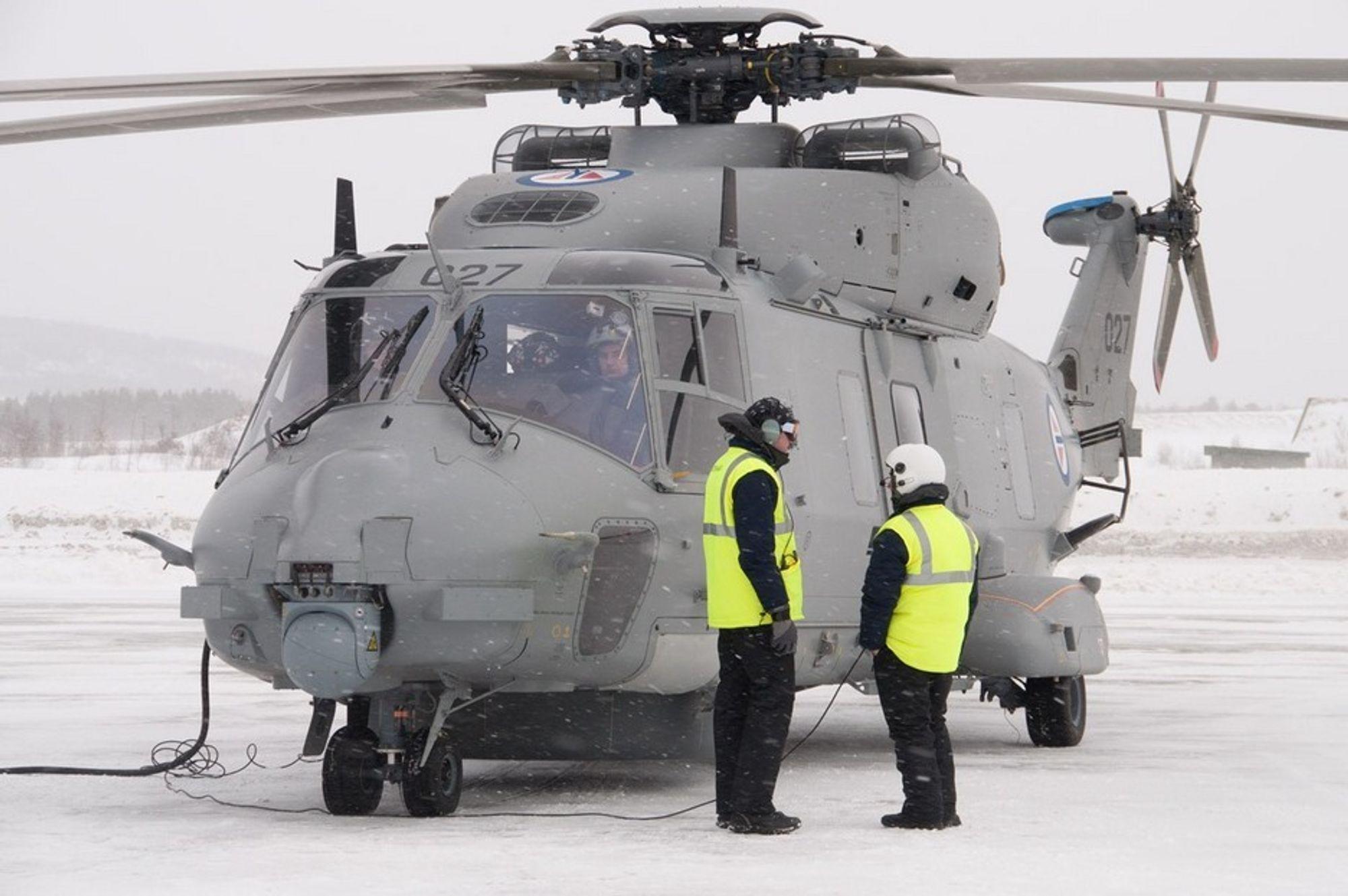 NORDNORSK VINTER: NH90 har hatt en meget høy tilgjengelighet de fire første månedene i Norge. Når maskinen har måttet stå på bakken, har det skyldtes sene deleleveranser fra Italia.