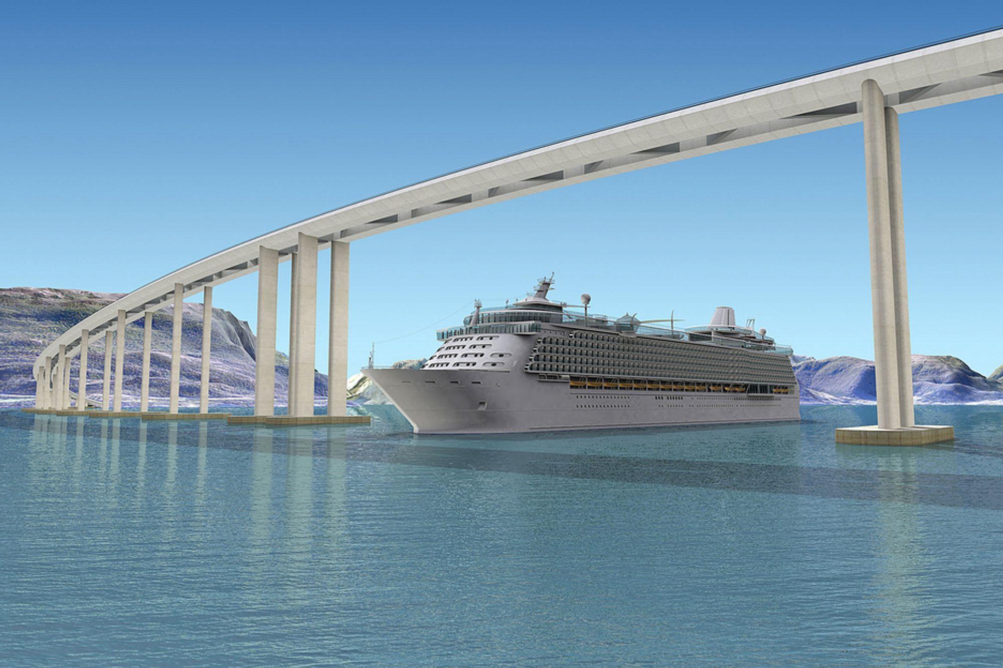 FLYTEBRO: En såkalt flytebro er et av alternativene Statens vegvesen vurderer over Sognefjorden.