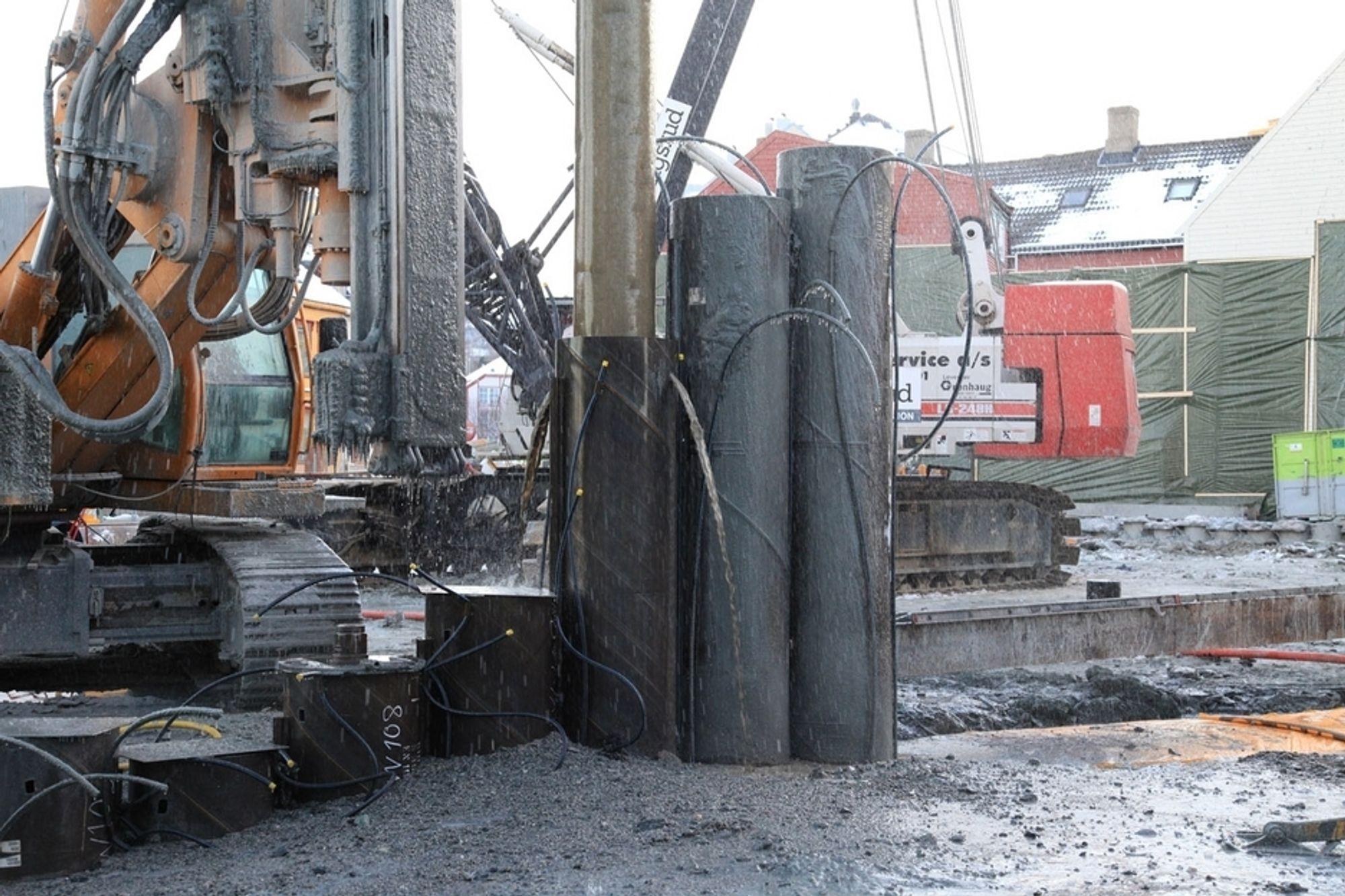 TUNNELUTFORDRING: Ruukkis RD-pelevegg muliggjør bygging av veitunnel i et boligområde i Trondheim.