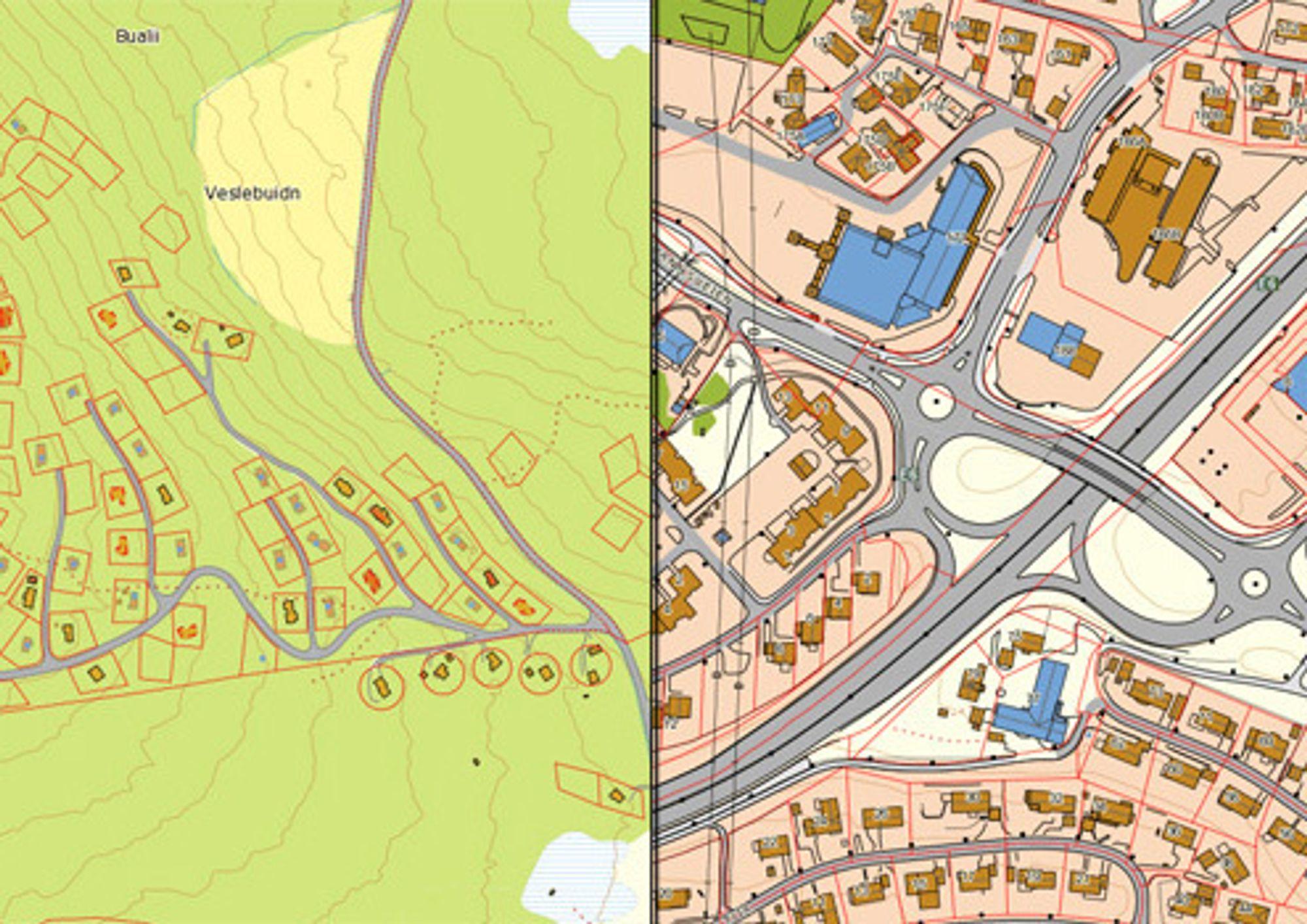 DETALJER: Kartverket lover at den nye tjenesten gir detaljerte kart, enten det gjelder en hyttegrend på Golsfjellet (til venstre) eller Trondheim.
