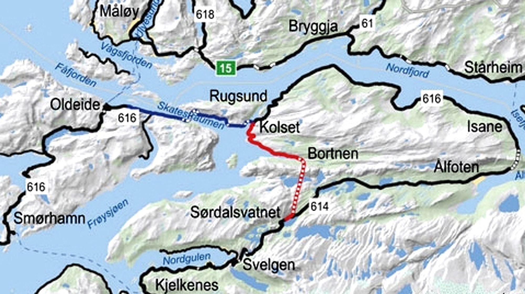 Strekningen som skal utbedres er markert med heltrukket rød linje, Vingetunnelen har stiplet linje. Den svarte linjen til høyre viser den store omveien mange av kommunens innbyggere må ta i dag. Ill.: Statens vegvesen