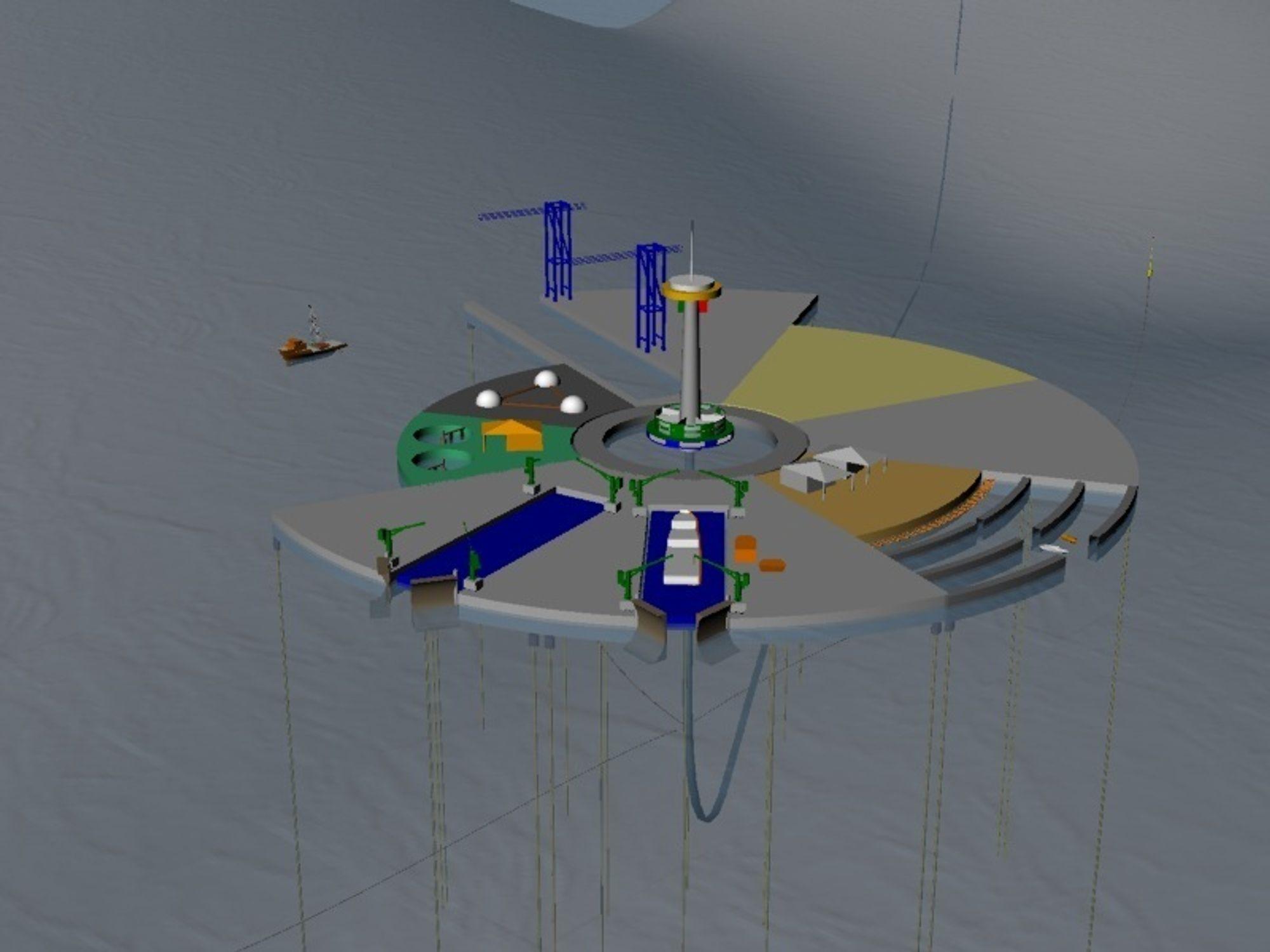 MODULØY: Den flytende øya skal forankres på dypvann.EU-prosjektet vil utrede mulighet for øyer til næring og boliger. Øya skal være selvforsynt med energi. NIVA deltar fra Norge.
