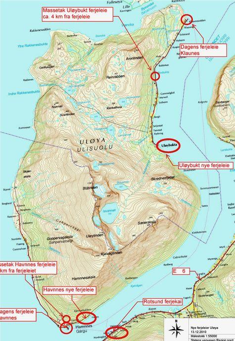 Den røde elipsen omtrent midt på bildet viser det nye fergeleiet på Uløybukt. Herfra er avstanden til Rotsund på fastlandet ikke stort mer enn halvparten av avstanden mellom Klauvnes helt nord på øya og Rotsund. Ill.: Statens vegvesen