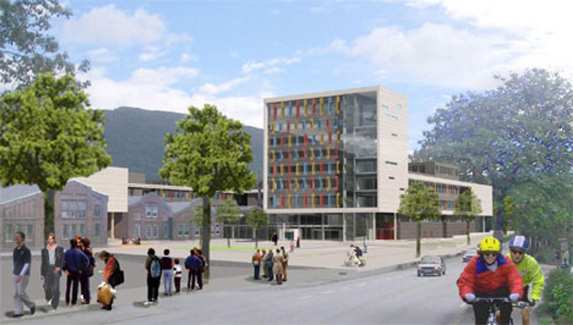 Byggestart for den nye Høgskolen i Bergen på Kronstad er stipulert til 2006. I tillegg til et helt nytt bygg, skal de også ta i bruk de fredede verkstedlokalene til NSB (til venstre på illustrasjonen)