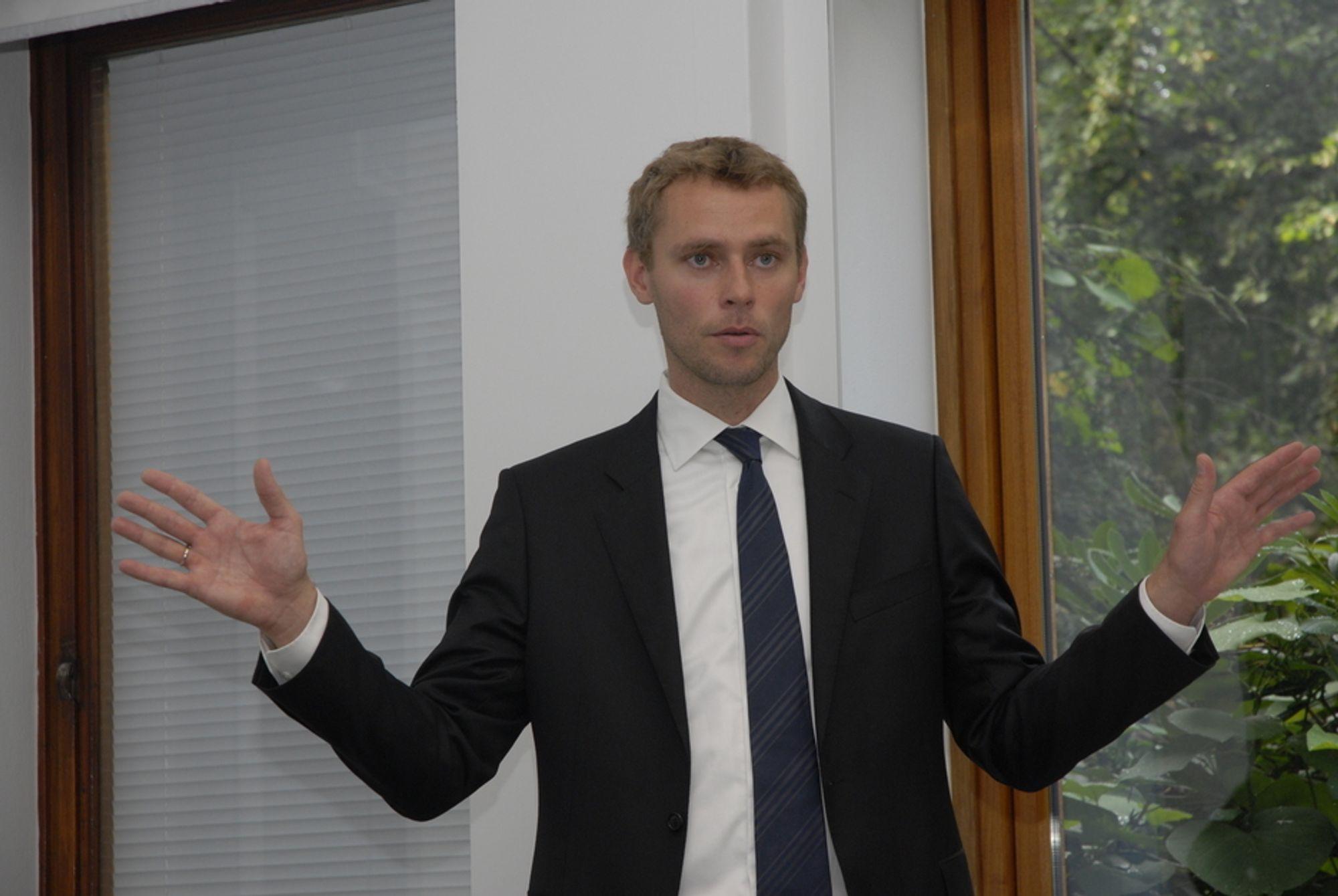 AVVISER BATTERI-DRØMMERIER: Norsk vannkraft vil aldri bli Europas batteri, ifølge energiminister Ola Borten Moe (Sp).
