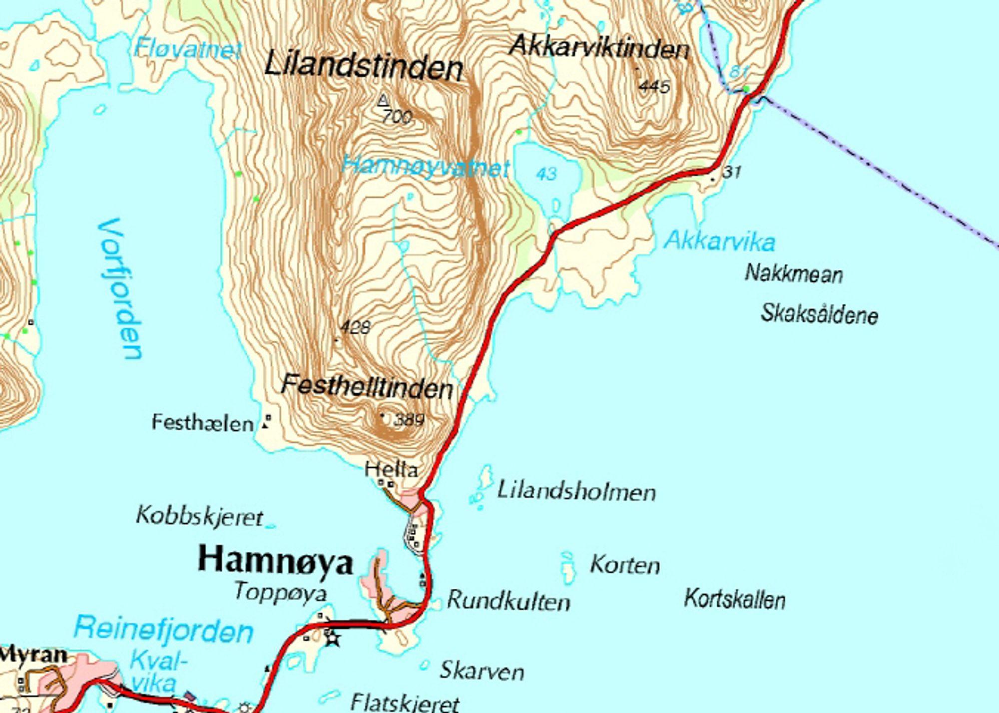 Hamnøytunnelen skal gå mellom Hamnøya nederst på kartet og Akkarvika. Ill.: Statens vegvesen