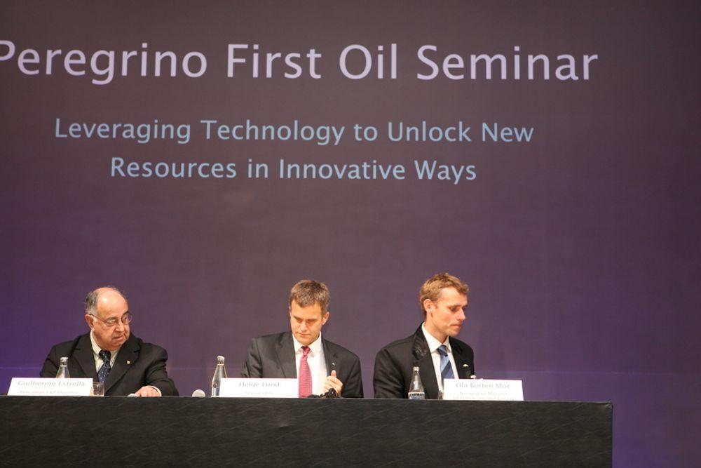 Petrobras direktør for undersøkelse og produksjon, Guilherme Estrella, Helge Lund og Ola Borten Moe understreket alle det gode samarbeidet mellom Norge og Brasil.