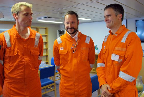 Olje- og energiminister Ola Borten Moe, Kronprins Haakon og Statoils konsernsjef Helge Lund under den offisielle åpningen av Peregrino-feltet, Brasil.