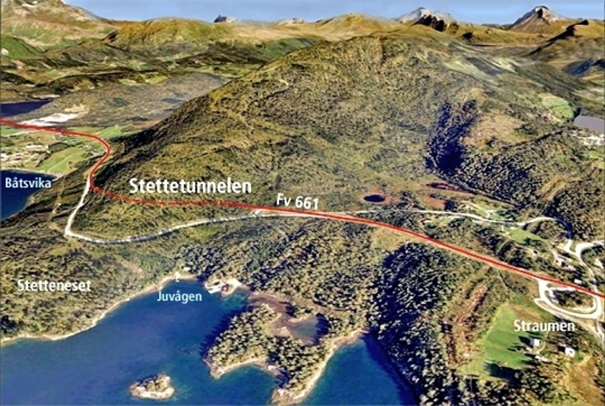 Fylkesveg 661 blir 375 meter kortere enn i dag når Stettetunnelen åpnes. Betonmast skal drive den hvis ingen klager innen 30. mai. Ill.: Statens vegvesen