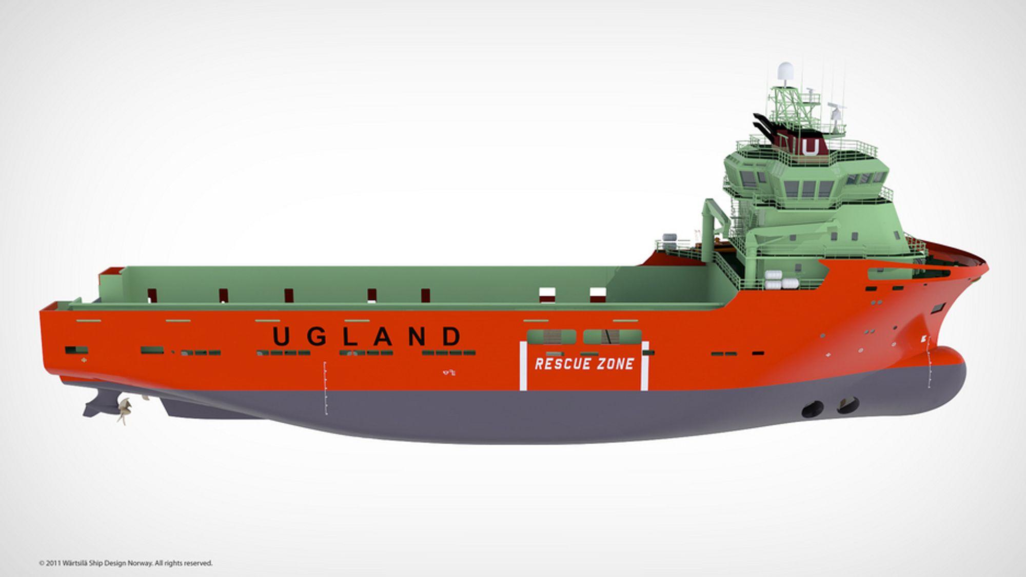 ARBEIDSHEST: Ugland Offshore er tilbake i Nordsjøen neste sommer med en VS 485 MK II PSV bygget ved Myklebust Verft, som inngår i Kleven Maritime.Skipet er 85 meter langt, 20 meter bredt, kapasitet på 5.000 dvt og dekksareal på 1.000d m².