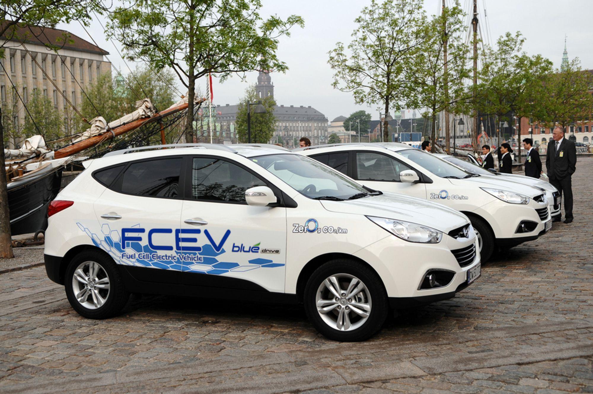 HYDROGEN: Fem av forskningsprosjektene dreier seg om hydrogen og brenselceller. Her en Hyundai Kia som går på hydrogen.