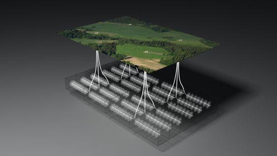 SKIFERGASS: Illustrasjonen viser et eksempel på skifergassutvinning med flere brønnplasseringer. Hvert brønnområde har seks produserende brønner. Flere horisontale brønner per område begrenser fotavtrykket og påvirkning på overflaten.
