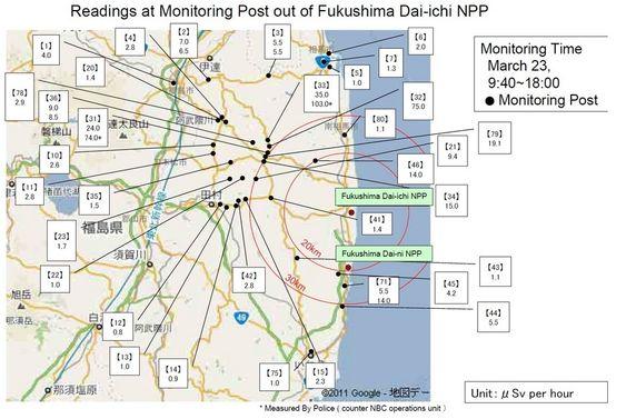 Tall over strålingsnivåer i luften rundt Fukushima-kraftverkene. Informasjon fra den japanske regjeringen. Innhentet 24. mars 2011.
