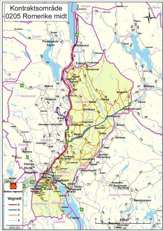 FØRSTE: Område Romerike Midt, i Akershus, er den første drifts- og vedlikeholdskontrakten Peab har fått i Norge.
