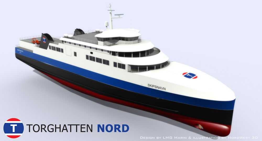 LNG-DRIFT: LMG Marin har designet LNG-fergene. Lengde: 93 meter, bredde 16,4 og 4 meter dypgang. Propulsjonssystem er ikke bestemt.