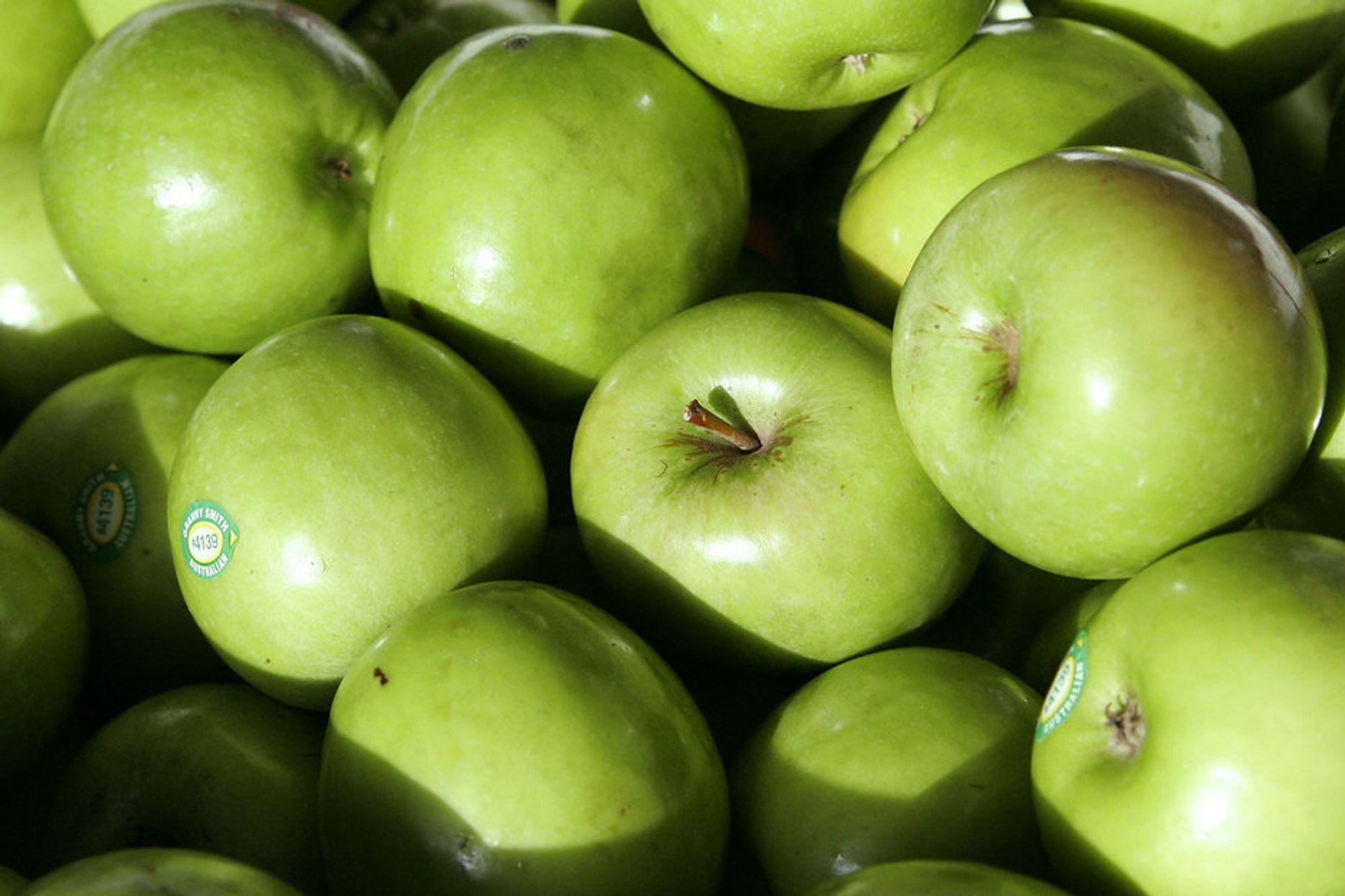 TESTES: Det candiske selskapet har slått av dette genet i eplesortene  Granny Smith, Golden Delicious, Gala og Fuji.