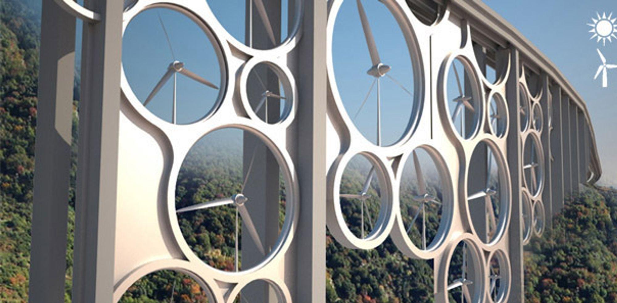 """Solar Wind-broen bruker vindturbiner og solpaneler under """"asfalt"""" av plast til å produsere nok energi til 15000 husstander."""