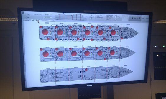 SKJERM: Her vises alle mønstringsstasjoner på ett av skipets dekk.