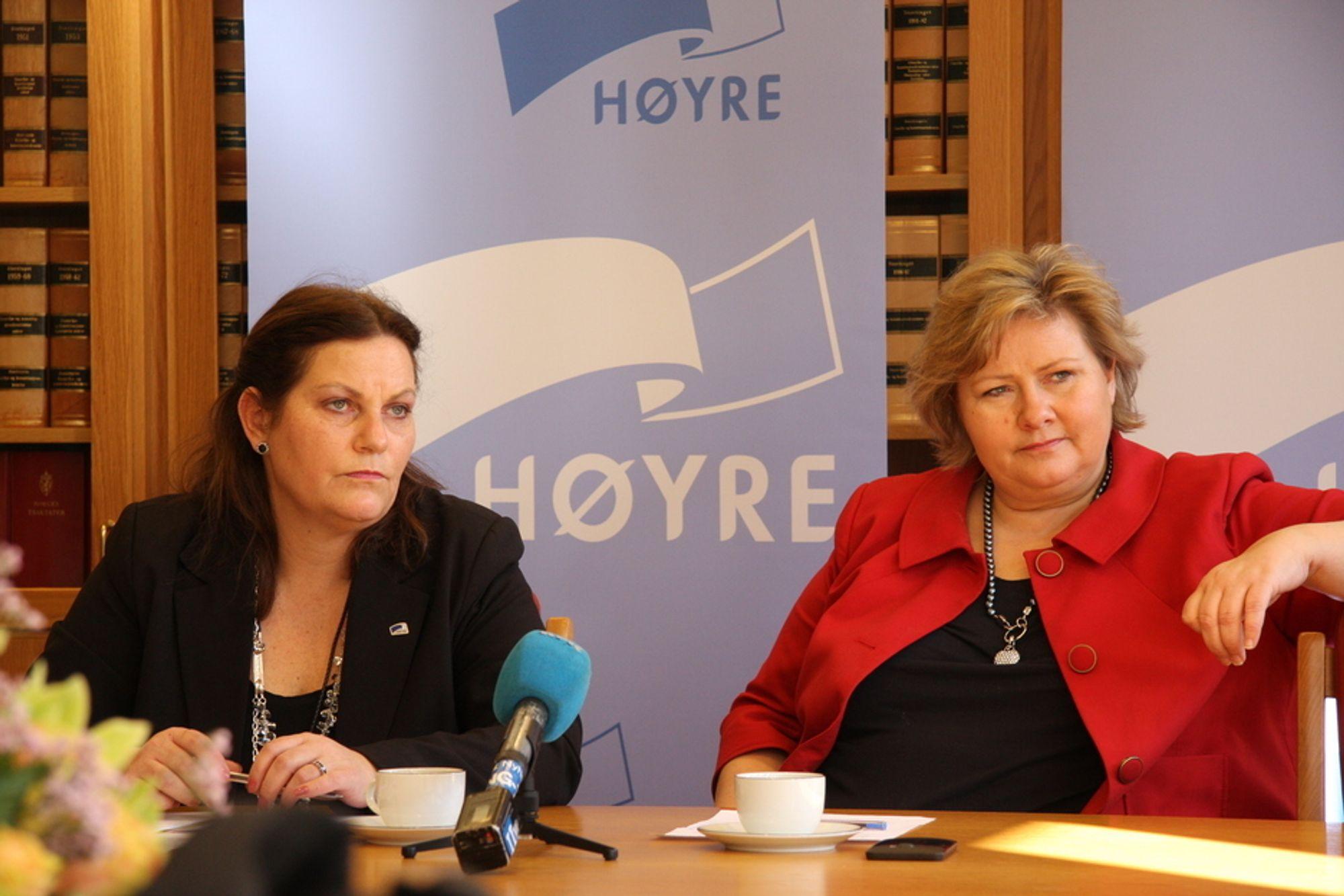 Siri Meling og Erna Solberg legger frem Høyres petroleumsmelding.