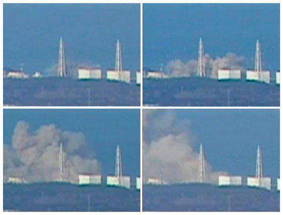 EKSPLOSJONEN: Dette sammensatte bildet, tatt fra japansk tv, viser røykutviklingen etter eksplosjonen ved kjernekraftverket Fukushima Daiichi 1 lørdag. kjernekraft kjernekraftverk atomkraft jordskjelv tsunami japan