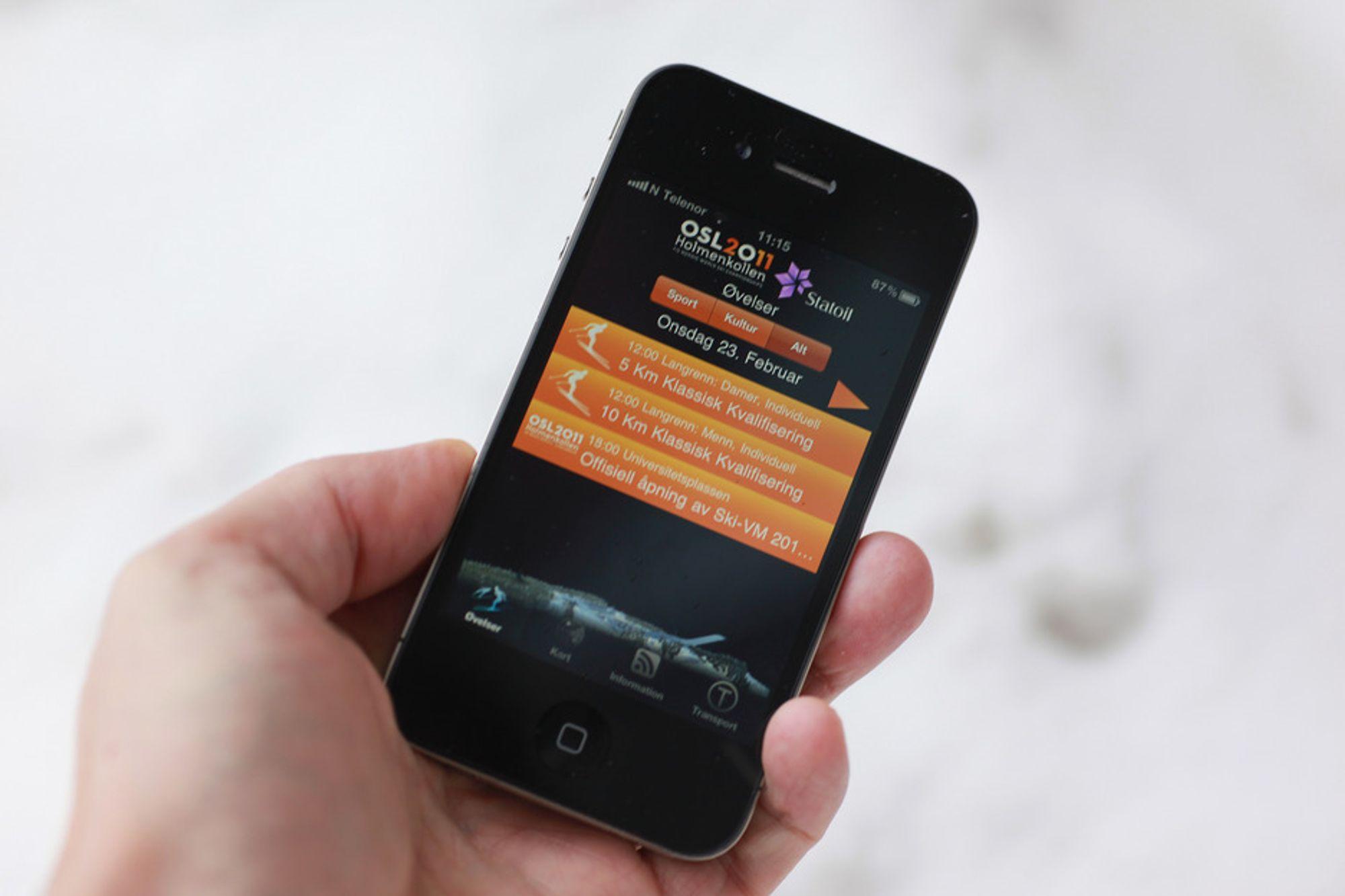 Ski-VM får naturligvis sin egen iPhone-applikasjon.