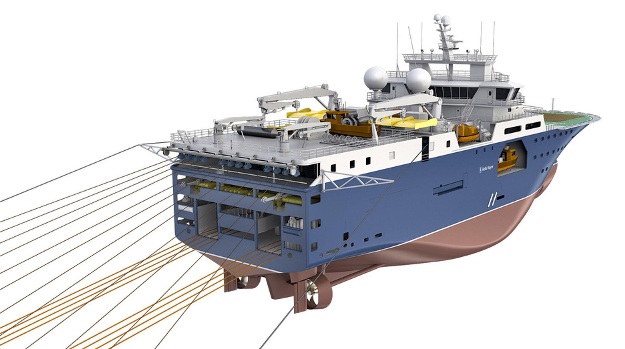 KINALYTTING: Sinopec bestiller seismikkskip med Rolls-Royce-design UT 830 CD. Det blir 100 meter langt og 24 meter bredt. Det kan trekke 12 - 14 lyttekabler.