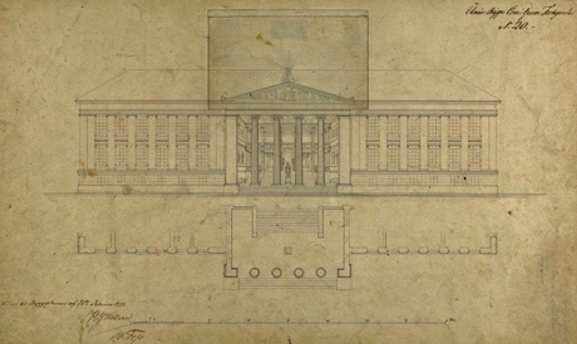 UNIVERSITET: Schinkels utkast til Det Kongelige Fredriks Universitet, tegnet i 1838. Foto: Dag A. Ivarsøy/Nasjonalmuseet - Arkitektur