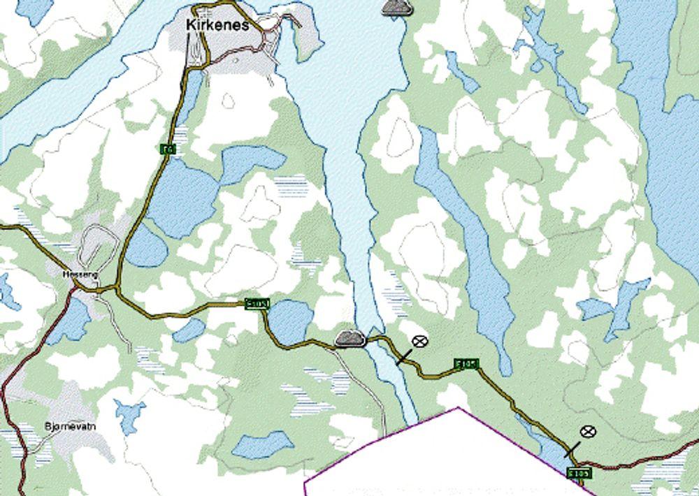 Strekningen som skal utbedres er markert nede til høyre på kartet. Mye rart skal skje hvis kontrakten ikke går til et Alta-firma. Ill.: Statens vegvesen