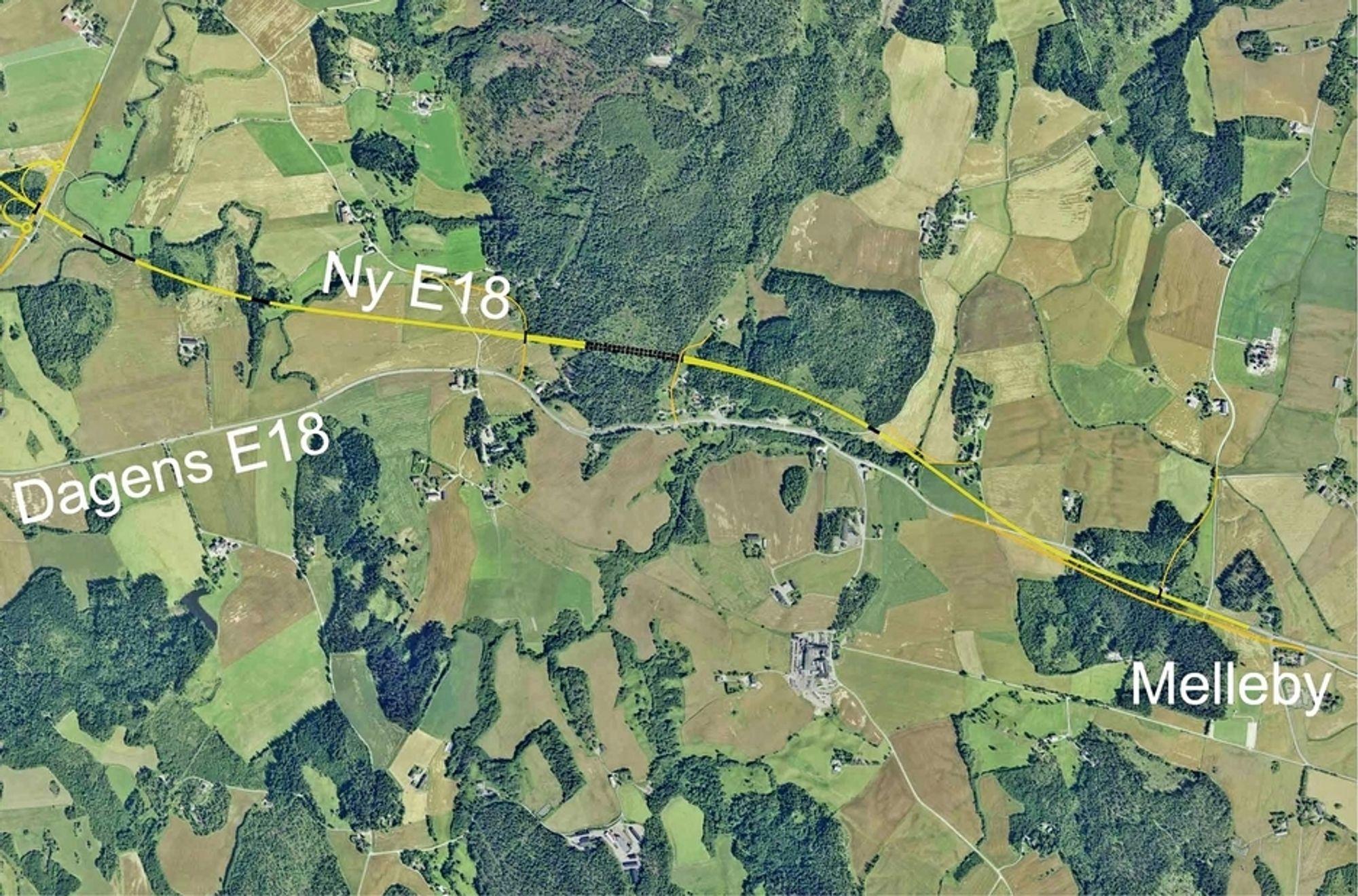 De som har lyst til å anlegge ny E 18 mellom Homstvedt og Melleby i Eidsberg kommune i Østfold, må gi anbud inne 16. januar. Ill.: Statens vegvesen