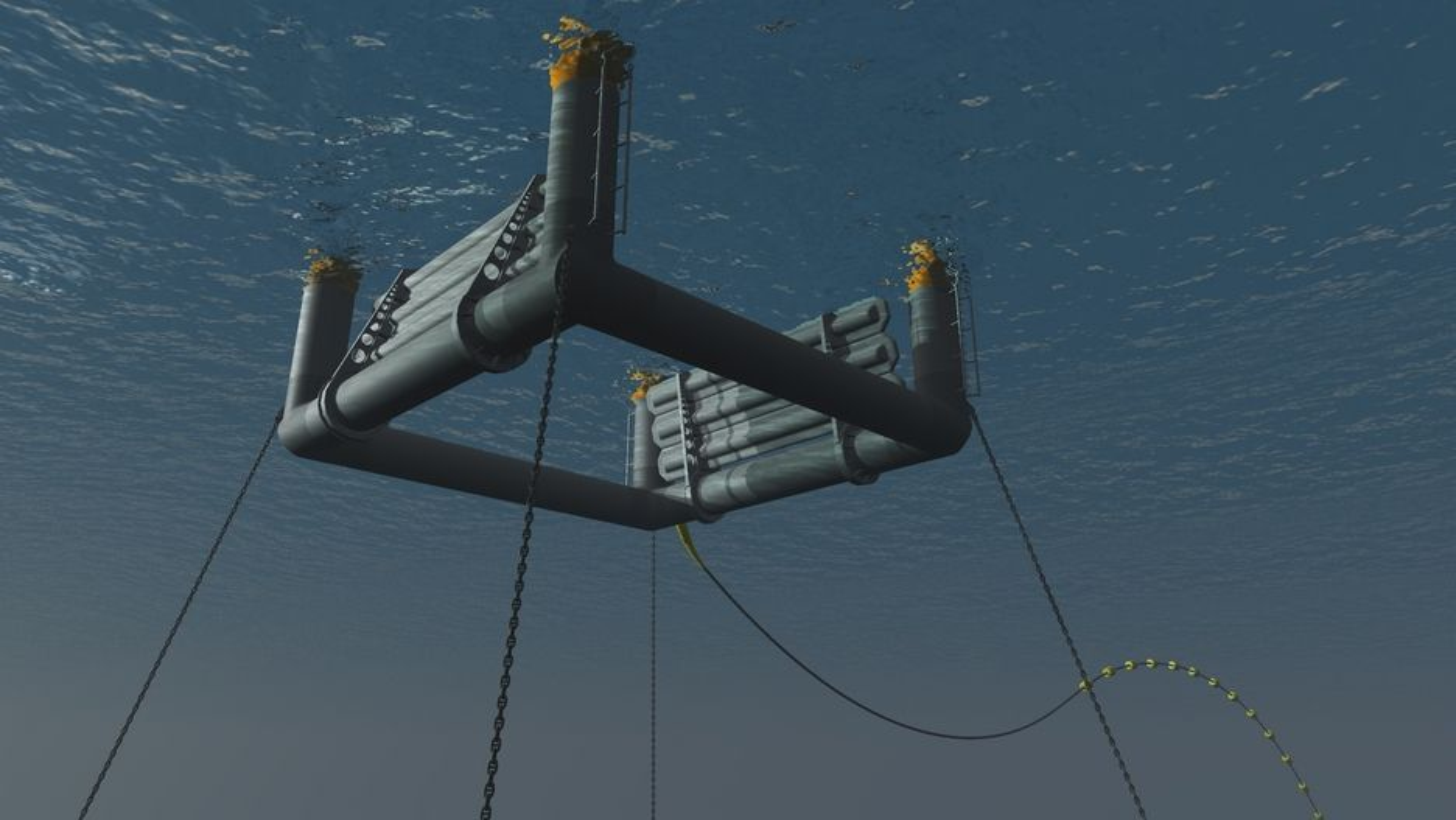 LANGLEE: Skissen viser løsningen som Langlee har valgt. Tanken er at det er mest energi rett under overflaten, og at installasjonen da er bedre beskyttet mot været enn om den flyter på overlfaten. De to flapsene til høyre og venstre beveges opp og ned av energien fra bølgene og omformer denne til elektrisk strøm.