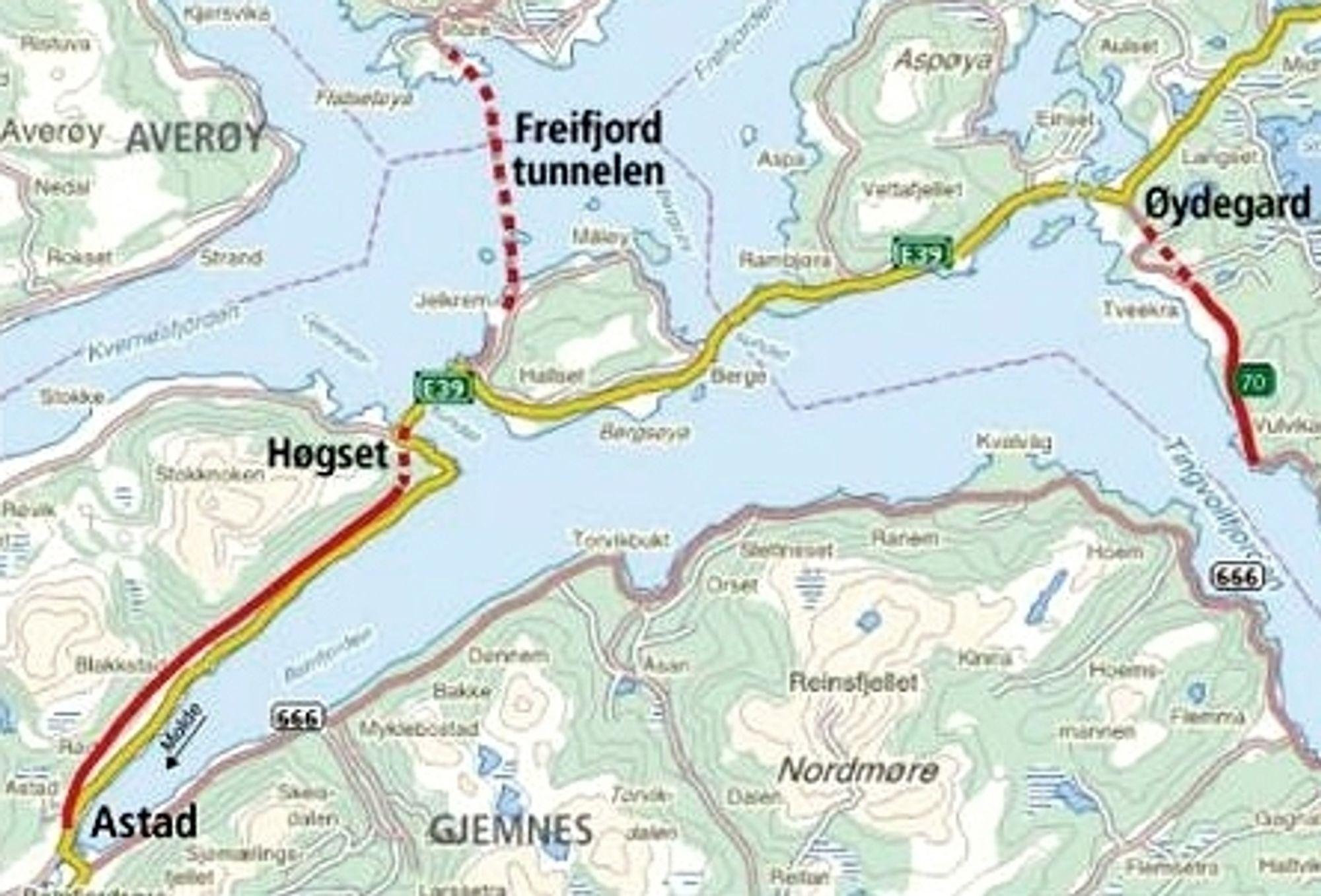 Mekvik Maskin fra Kristiansund ligger an til å få et oppdrag på E 39 mellom Astad og Høgset, mens Vatn Maskinstasjon fra Tingvoll ligger an til å miste et på samme prosjekt. Ill.: Statens vegvesen