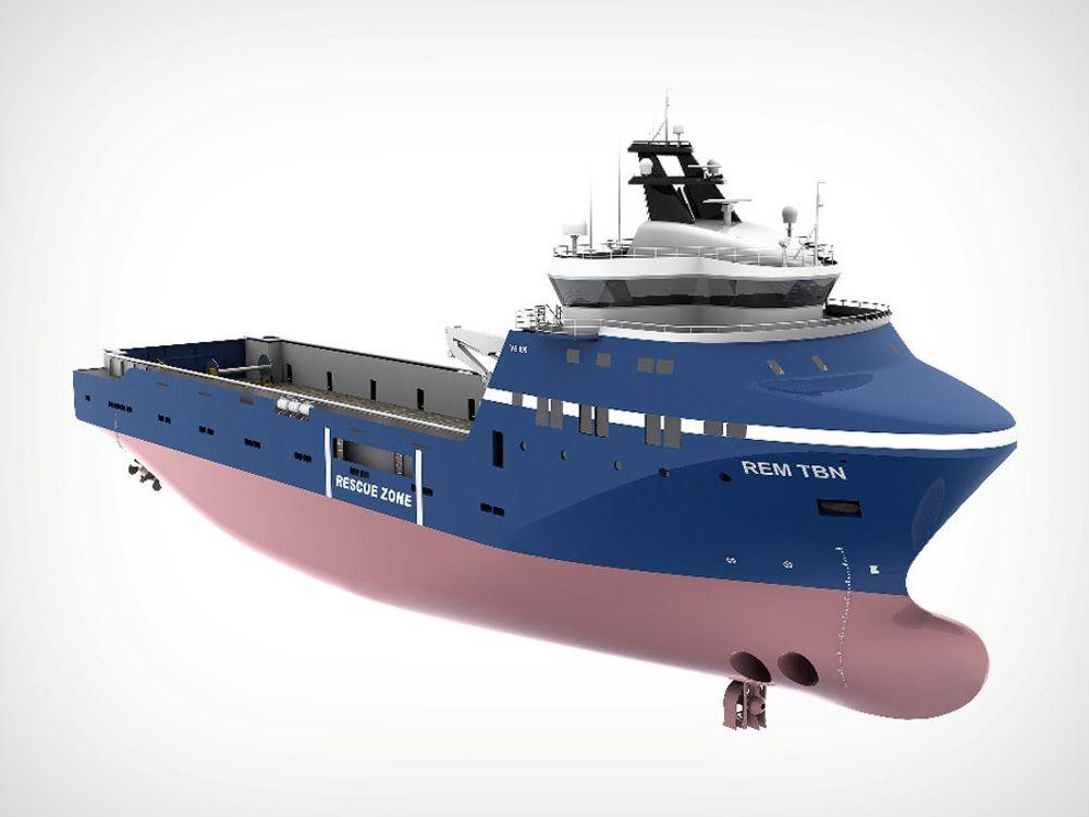GASS: Rem Offshore bestiler et forsyningsskip med designet VS 499 LNG fra Kleven Maritime. Skipet blir 89,6 meter langt og 21 meter bredt. Skipet får dual fuel-motorer som kan gå på gass og diesel. Levering er satt til desember 2012.