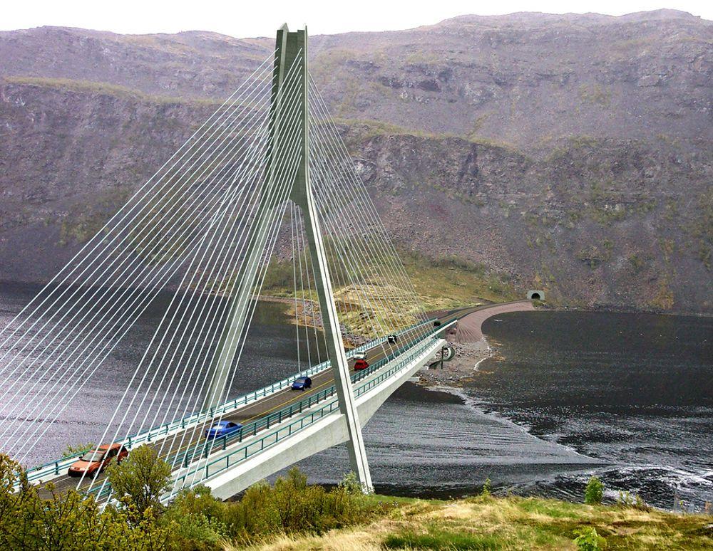 Redaelli Tecna fra Italia har gitt lavest pris på skråkabler til Kåfjordbrua i Alta. Prisen på 54,988 millioner kroner gjelder også bærekabler og hengestenger til Dalsfjordbrua i Sunnfjord. Ill.: Statens vegvesen