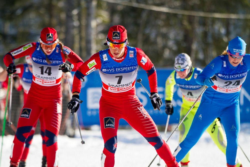 STAVTAKT: Langrennsløper Marit Bjørgen (nr. 7) ble nummer fem i verdenscup-sprinten i Drammen søndag. Hun brukte de samme stavene da som hun skal bruke i VM, og som forhåpentligvis vil bidra til mange norske gull.