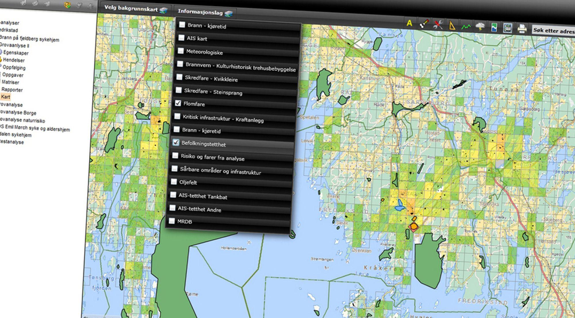 LAG PÅ LAG: Såkalt GIS-analyse i moderne digitale karttjenester gir mulighet for hurtige analyser i krisesituasjoner. Her Geodatas CIM-tilpassede Safepoint 360-programvare i et eksempel fra Fredrikstad sentrum.