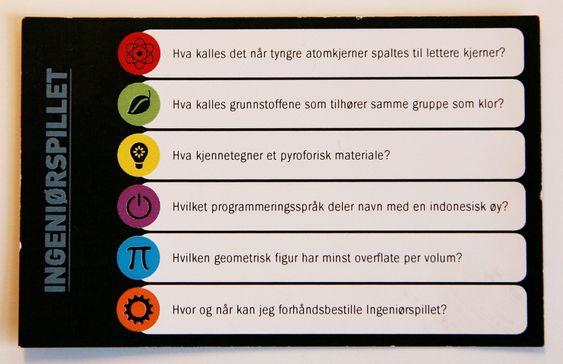 Spørrekort til Ingeniørspillet, som er utviklet av tre studenter ved NTNU.