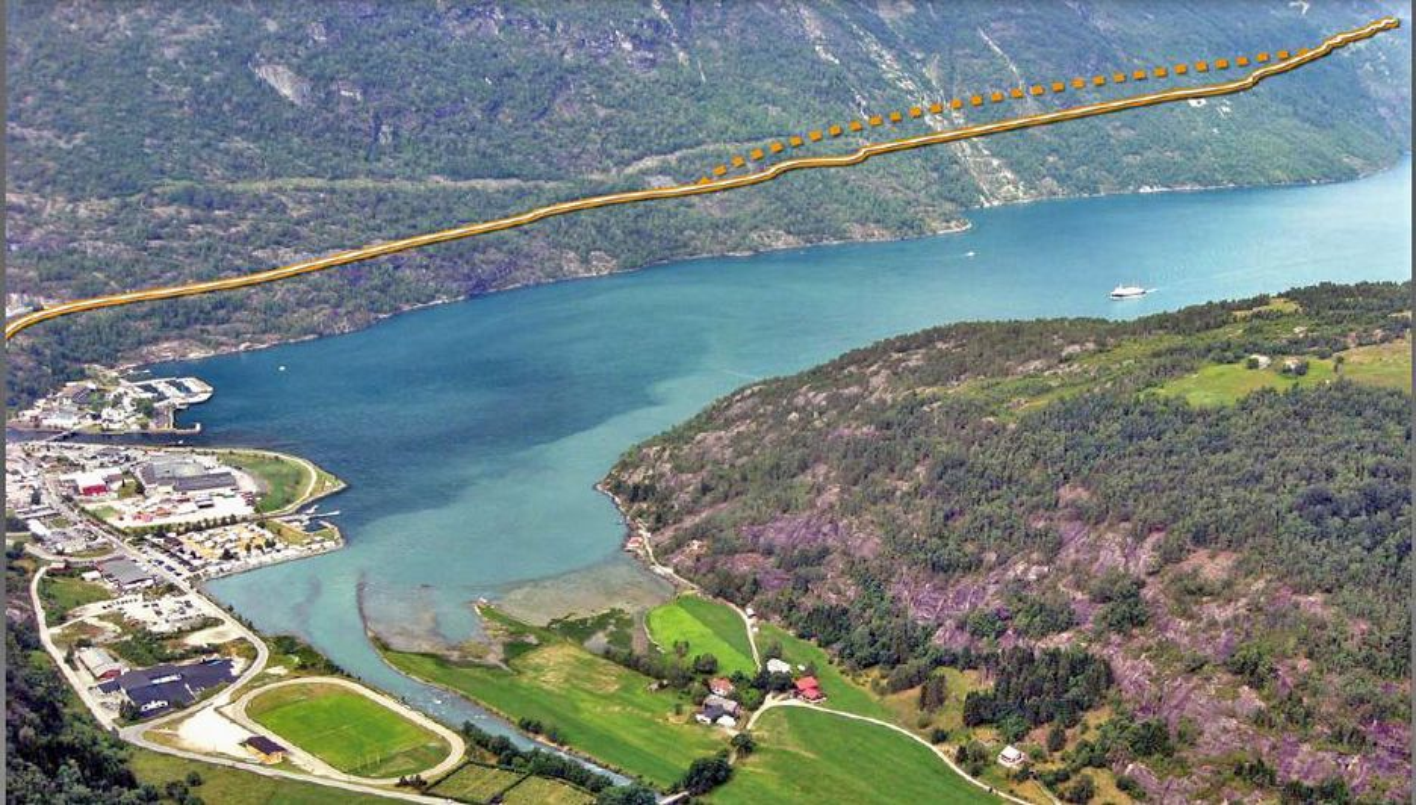 Den stiplete linjen i fjellsiden viser Streketunnelen slik den vil gå når den er forlenget. Oppdraget går til Skanska hvis ingen klager på avgjørelsen. Ill.: Statens vegvesen