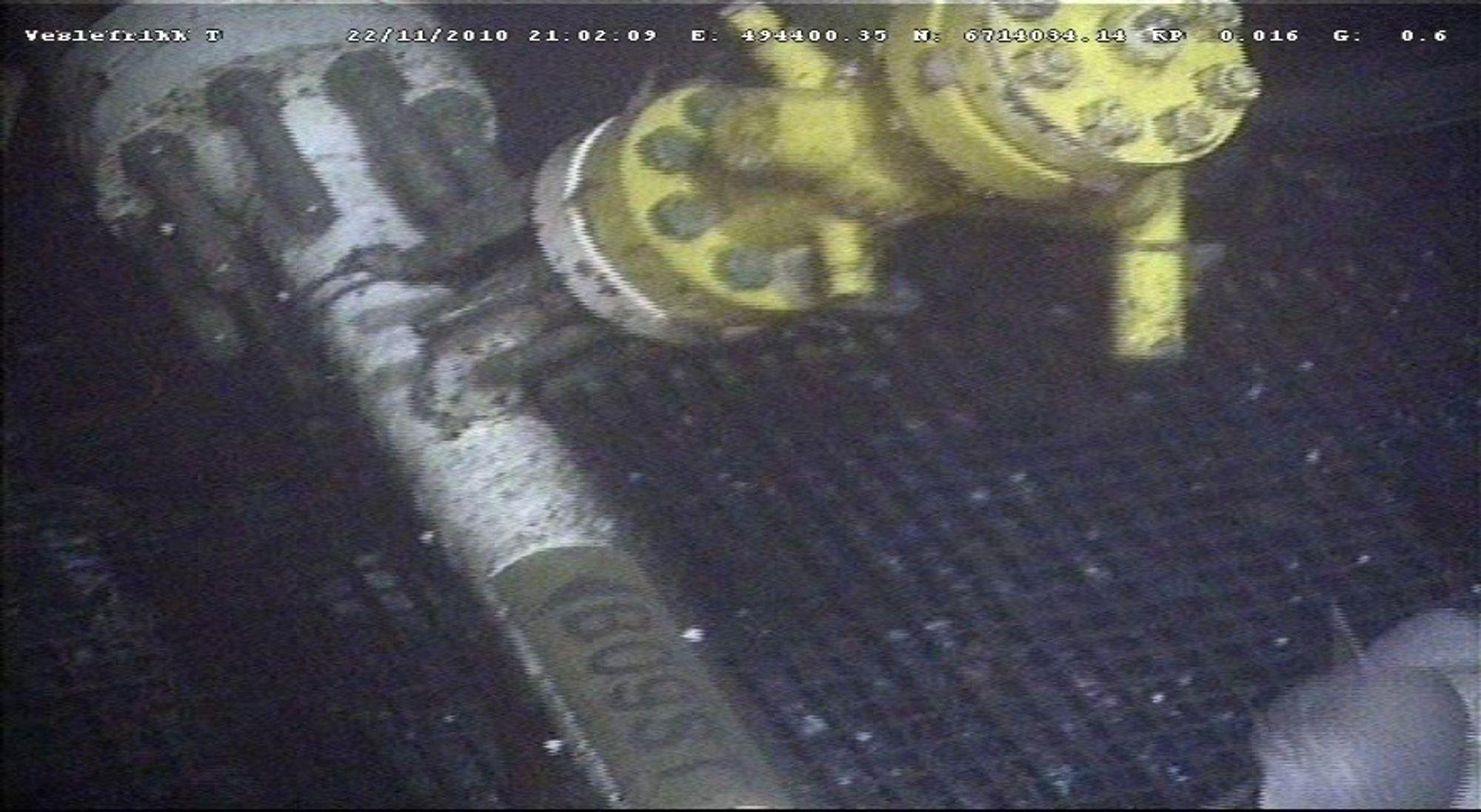 Rørkoblingen på Veslefrikk Tee er skadet, sannsynligvis på grunn av tråling.