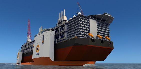BOLIGMODUL: Dockwise Vanguard kan ha ølast hengende ut både foran, bak og på siden av det store dekket på 275x70 meter.
